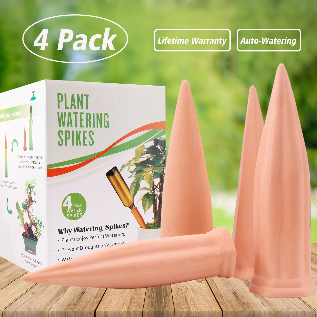 Plant Waterer Self Watering Spikes, Automatic Vacation Plant Watering Devices,Terracotta Wine Bottle Stake Set, Slow Release Self Irrigation Watering System-Perfect for Indoor Outdoor Office Plant (4) by punada (Image #1)