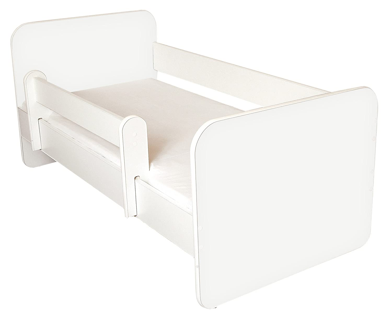 Toddler Bed with Mattress Removable Side Panels Amila Plain White