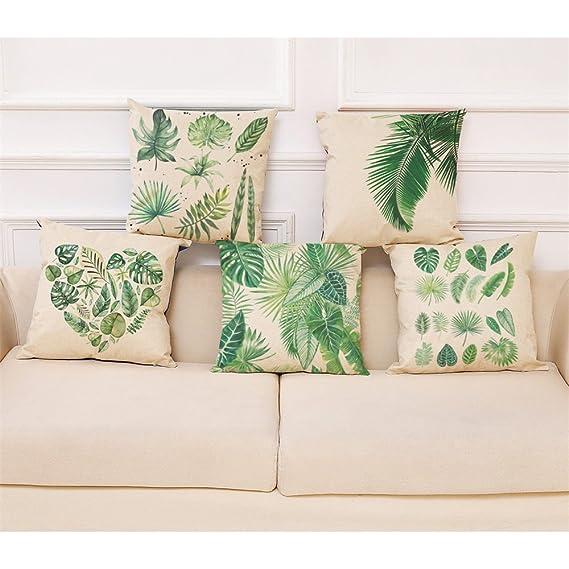 Lenfesh Fundas de Cojines Almohada de Plantas Tropicales Hoja Verde Decorativos Diseño para Sillas Camas Sofás Sofás (K)