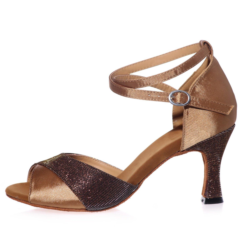 Elobaby Scarpe da da da Ballo da Donna in Pelle Super Raso Satinato Glitter Standard Latino Moderno   7,5 Cm Tacco Vestito | Qualità E Quantità Garantita  15b042