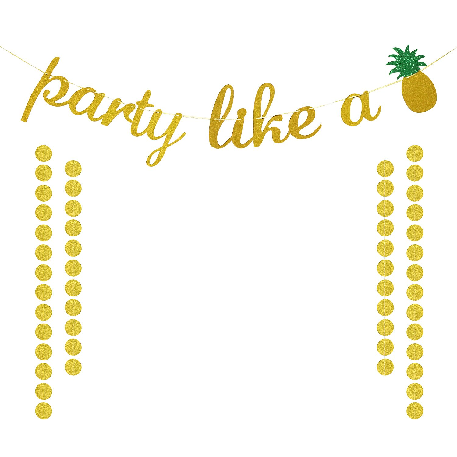 Gold Glittery Party Like A Pineapple Banner for Hawaiian Tropical Luau Beach Summer Theme Party Decorations Supplies | Extra Gold Glittery Circle Dots Garland (50pcs Circle Dots)
