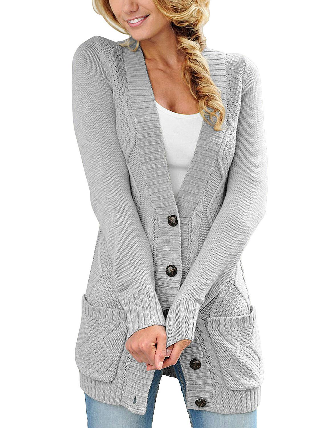 luvamia Womens Grey Casual Long Sleeve Open Front Buttons Cable Knit Pocket Sweater Cardigan Outwear Size L(US 12-14)