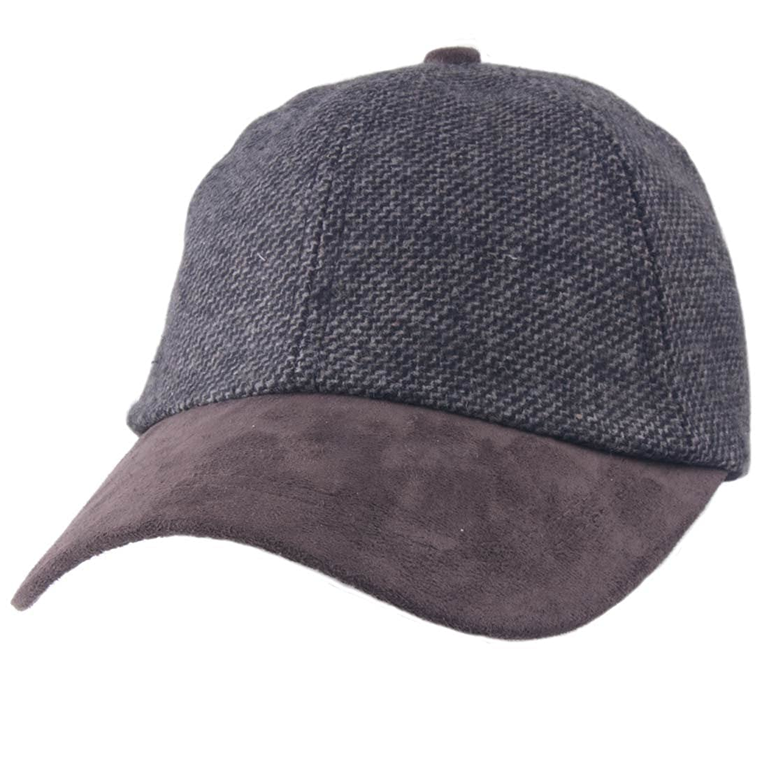 3cb6f9e70fa Carrolls Irish Gifts Tweed Suede Baseball Cap Grey Colour with Brown Bill  Design at Amazon Men s Clothing store