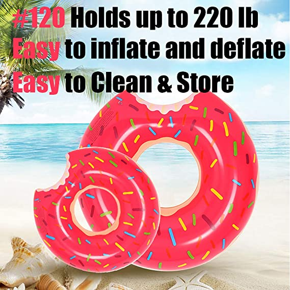 Amazon.com: Yarssir Giant Donut Pool Float, Funny Inflatable Vinyl Summer Pool Beach Toy, Chocolate Strawberry Donut Swim Ring FLOTADOR for Kids and ...