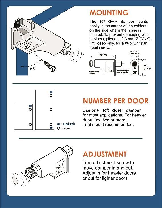 Rok Hardware 25 Pack Soft Close Damper for Cabinet Doors / Compact / Soft  Close Adapter / Hardware / Nickel / Hinge