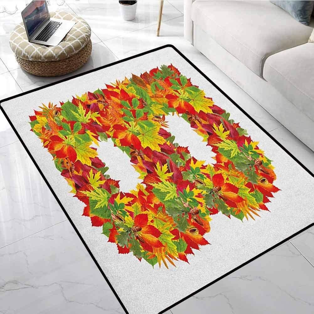 Letter B Carpet Mats 3x5 ft Seasonal Leaves Fall Color Alphabet Capitalized B Symbol Second Letter Floor mats for Office Chairs on Carpet