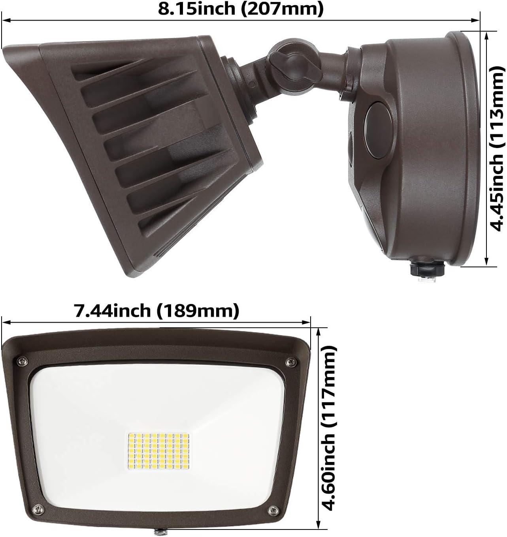 Leonlite Dusk-To-Dawn geführt Outdoor Flood Licht (Photocell Included), 3400Lm Ultra-Bright Waterproof Security Floodlight, 28W (220W Eqv.), Etl-Listed für Hof Porch, 3000K warme White, Pack von 2