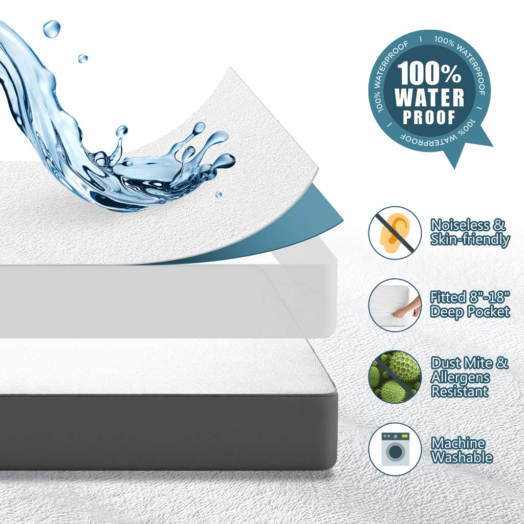 Awenia King Mattress Protector, 100% Waterproof Bed Mattress Cover, Hypoallergenic Breathable Noiseless Machine Washable, Fitted 8''-18'' Deep Pocket by Awenia (Image #2)