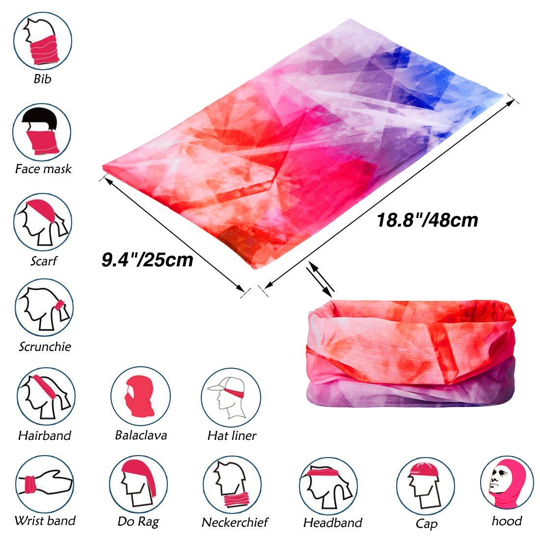 TUONROAD Womens Printed Colorful Neon Orange Purple Blue Stretchy Seamless Magic Headband Scarf for Cancer Patients Mens Sun Protection Fishing Tube Sun Mask for Running Skiing Riding Hunting Hiking