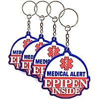 4 Pack - Epipen Inside - Rubber Bag Tags/Keychains, Allergy Medical Alert, For Keychain/Backpack Zipper, Adult & Child