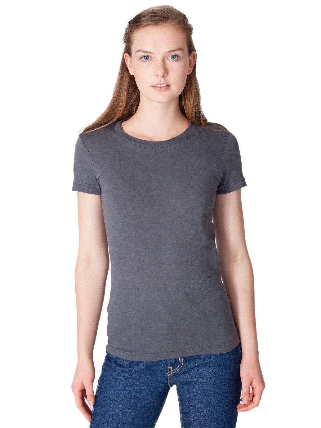 American Apparel Women's Fine Jersey Short Sleeve Women's's T Size L Asphalt