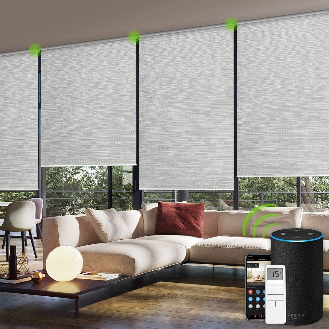 Yoolax Motorized Blinds Remote Control Auto Blinds Blackout Motorized Roller Shade with Valance Customized Jacquard White