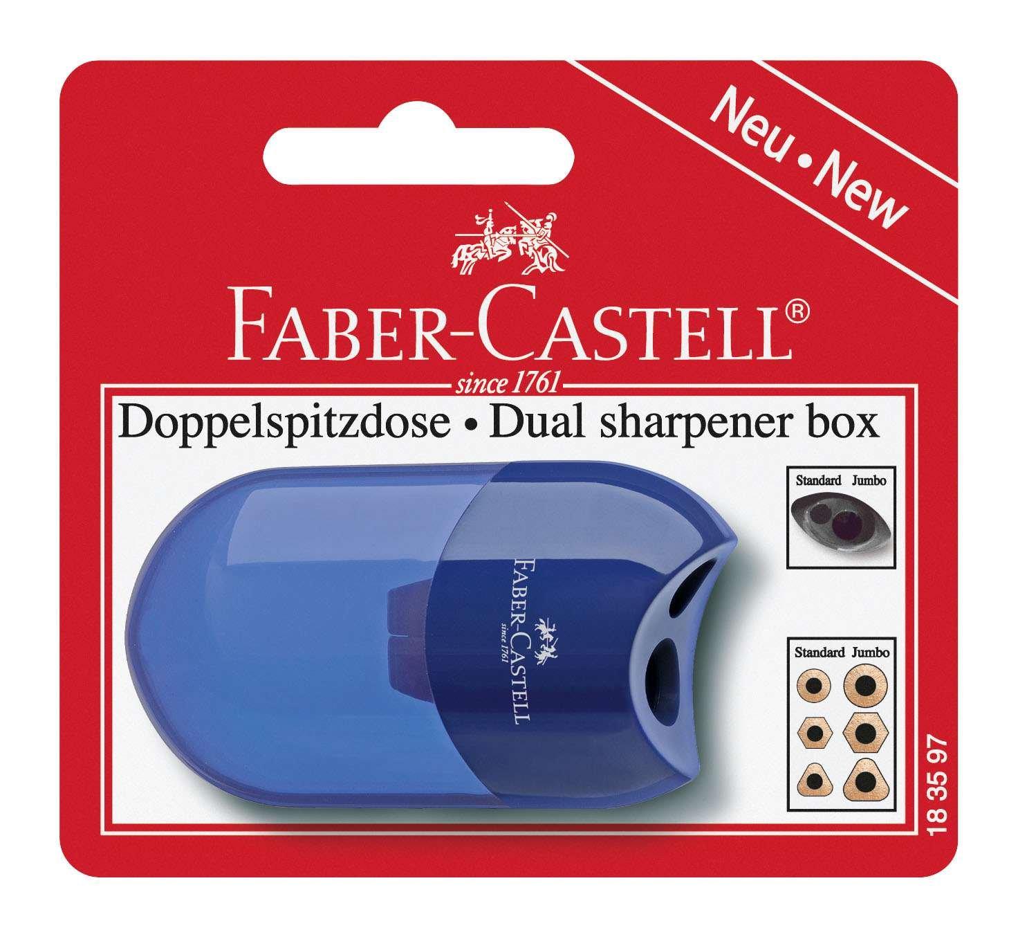 Faber-Castell 183597 - Doppelspitzdose, farblich sortiert in rot und blau -keine Farbauswahl möglich