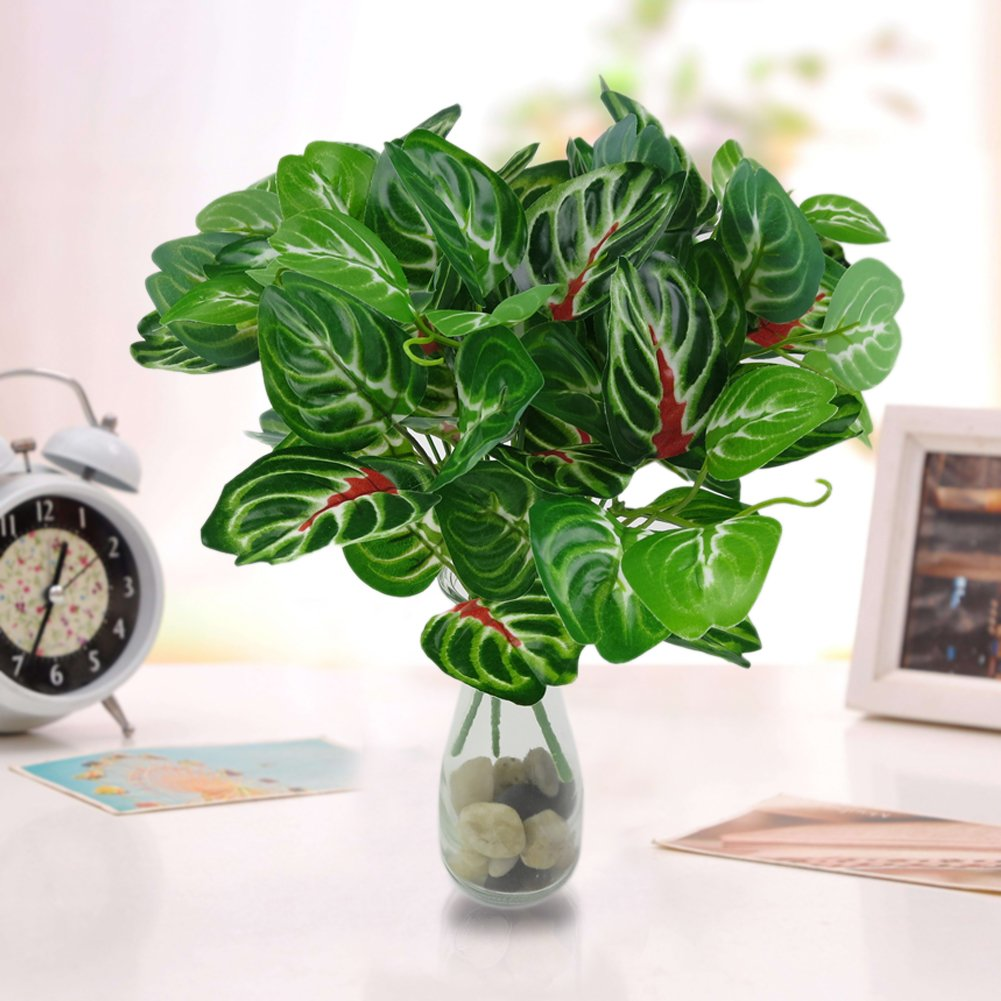 dezirZJjx Artificial Plants 1Pc 32cm Fake Leaves Green 5 Branches Home Office Table Decor Artificial Plant