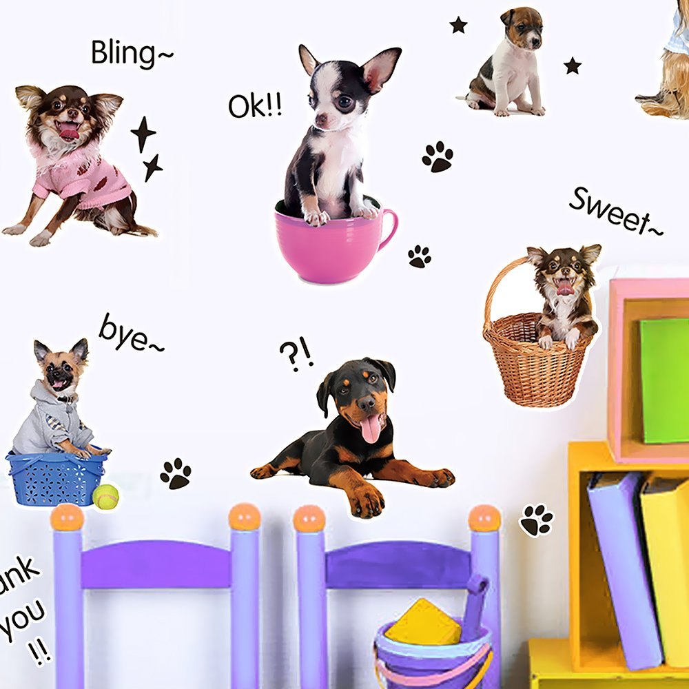 Wopeite Puppy Dogs Wall Sticker 2 Pack DIY Vivid Decals Removable Decoration pet Love for Kids Nursery Room Living Room Bedroom