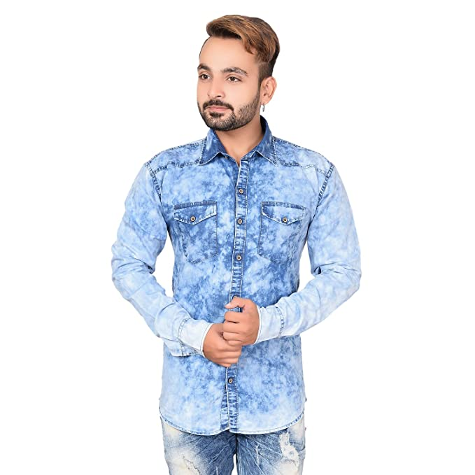 173f665aa89 Denim Light Blue Fashionable Shirt For Boys And Men (44)  Amazon.in ...