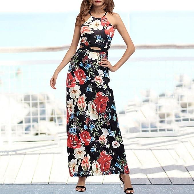 Vestido sexy para mujer maxi - Saihui Halter cuello floral impresión ...