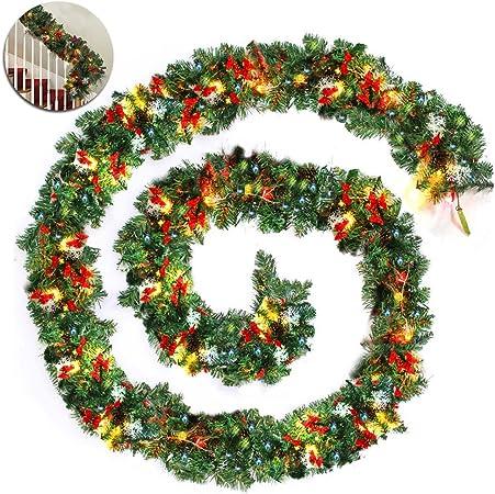 Guirnalda Luces LED de Navidad Abeto Artificial Escalera Luminosa 270 cm DIY Decorativa con Lazo Pineal Nieve Plástico Iluminación Estufa y Puerta 2.7m: Amazon.es: Hogar