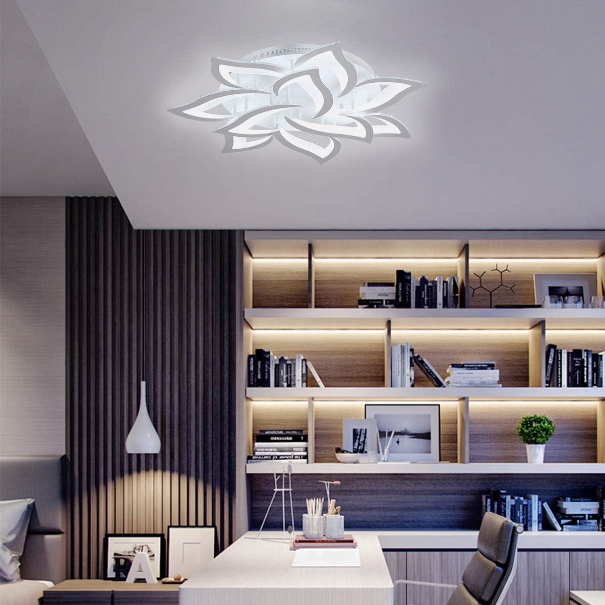 Garwarm LED Ceiling Light 72W 10 Heads Petal Modern Flush Mount Acrylic Ceiling Lamp Chandelier Lighting Fixture for Living Room Bedroom Kitchen, Cool White 6500K - -
