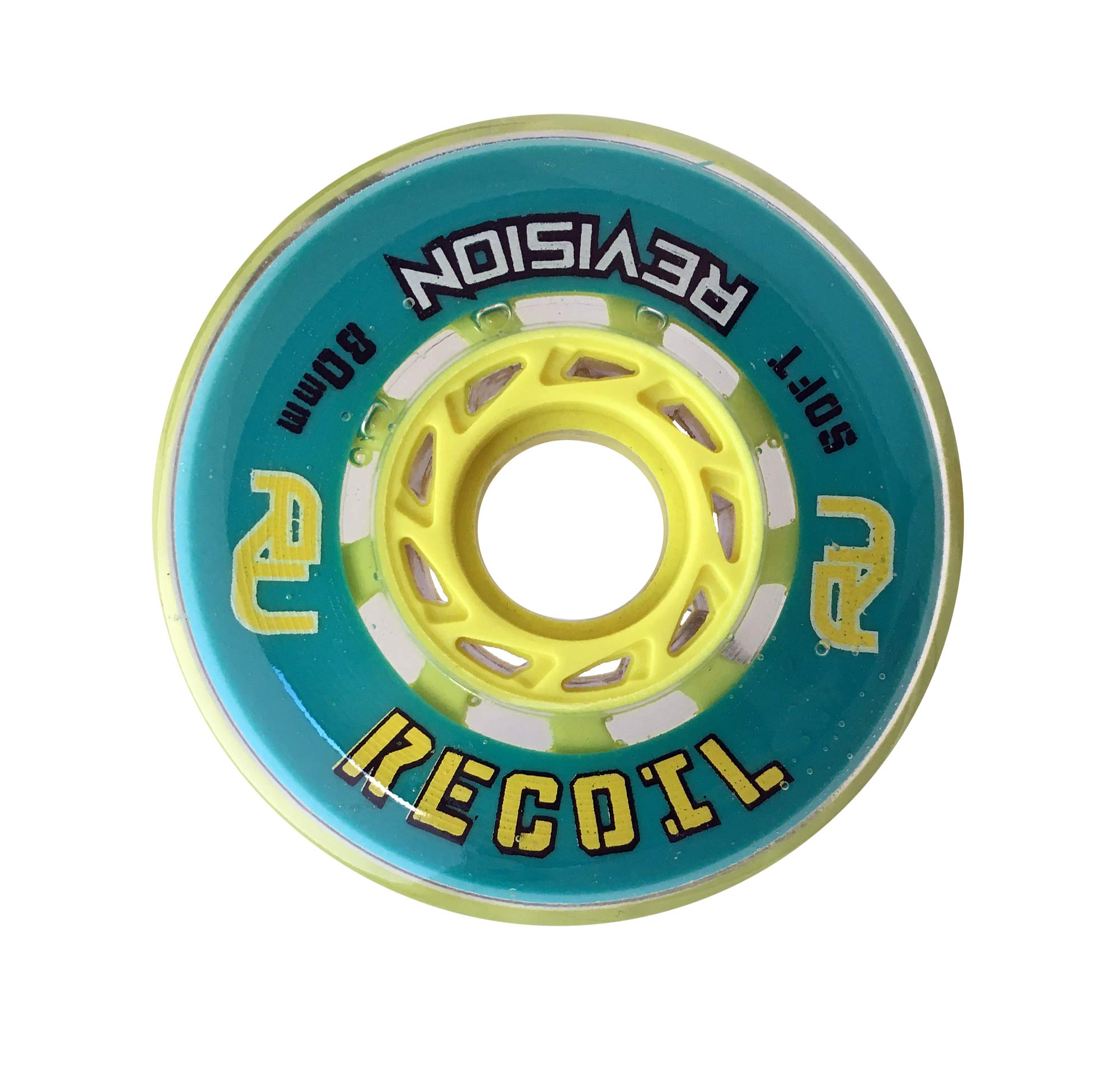 Revision Recoil Indoor Inline Roller Hockey Wheel - 74A - 80mm Soft - Teal & Yellow by Revision Hockey