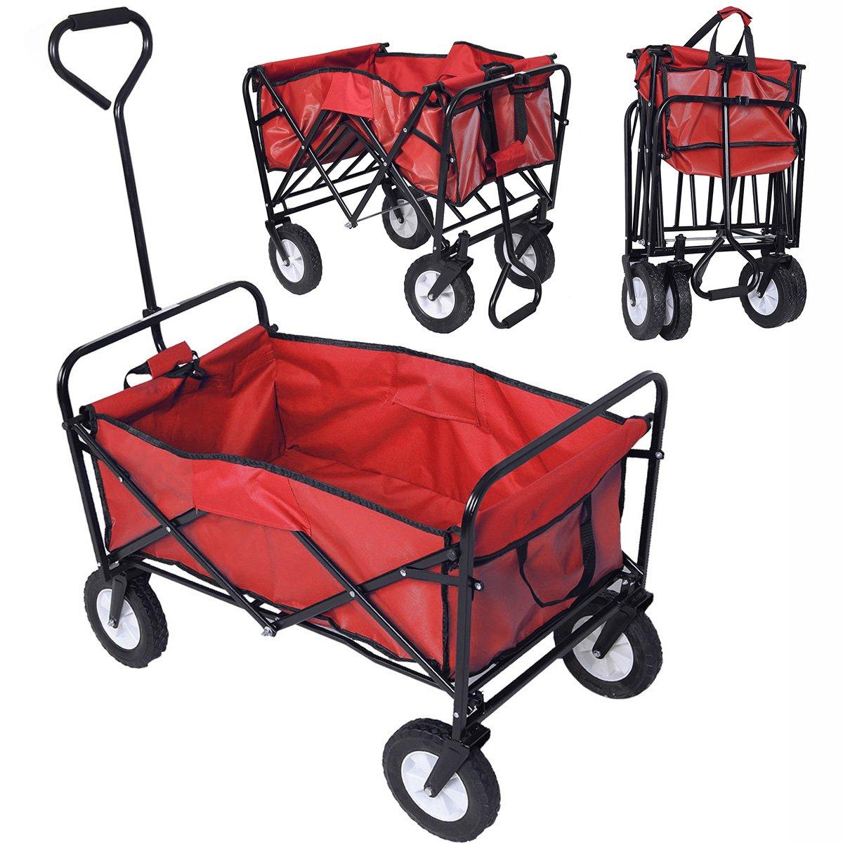 CASART Foldable Trolley Heavy Duty Cart Pull Wagon 4 Wheel Truck Large XL Size Wheelbarrow Garden Outdoor (RED)