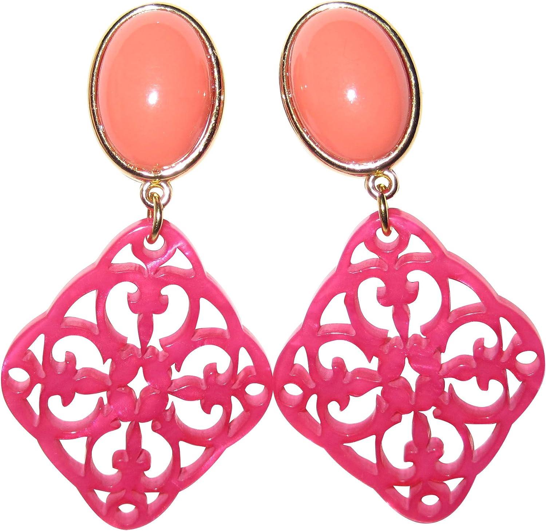 JUSTWIN - Pendientes de clip muy ligeros de color naranja y rosa, dorados, con colgante de piedra y coral, color rosa