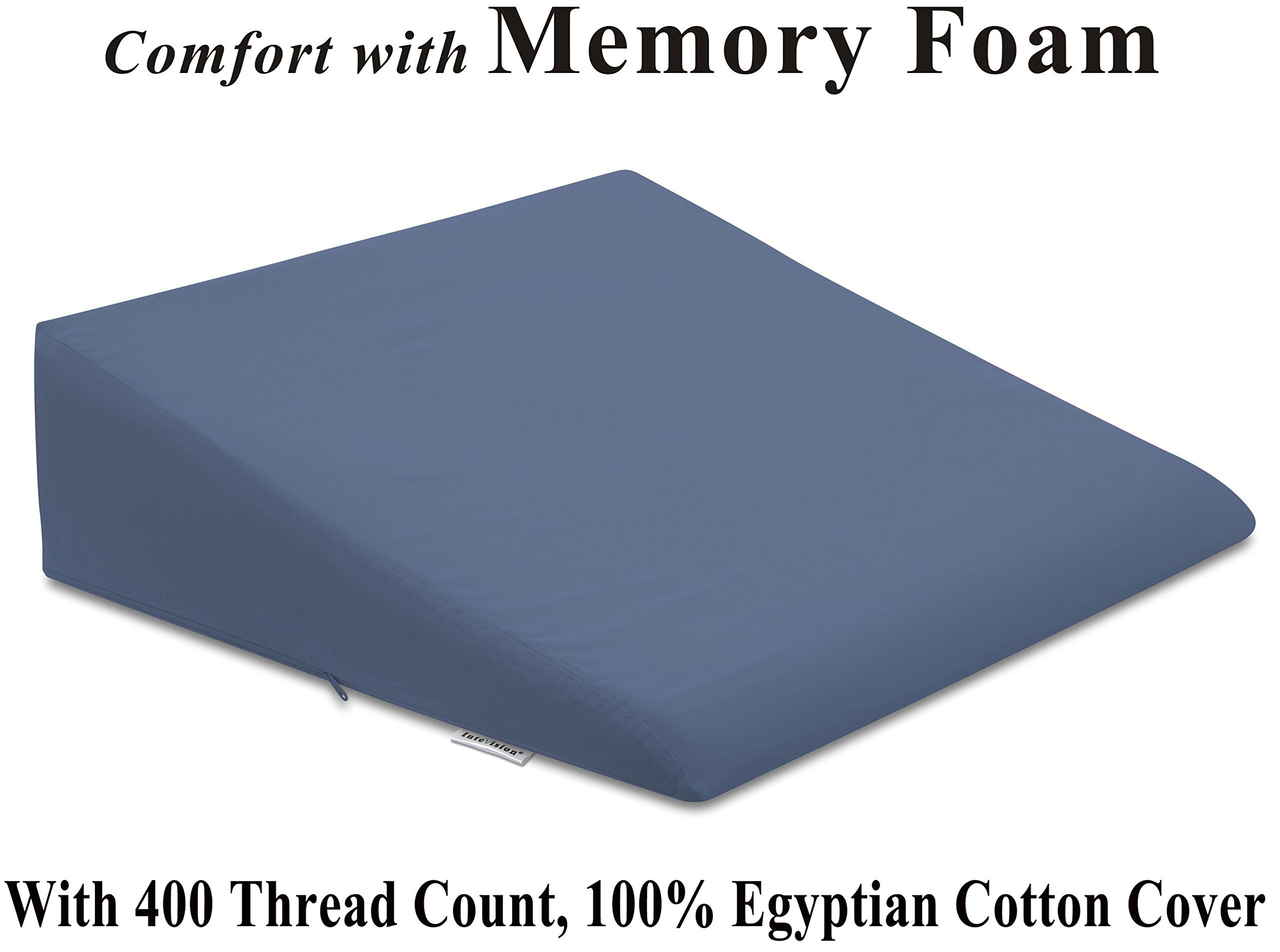 InteVision Foam Wedge Bed Pillow (26'' x 25'' x 7.5'') with High Quality, 400 thread count, 100% Egyptian Cotton Cover