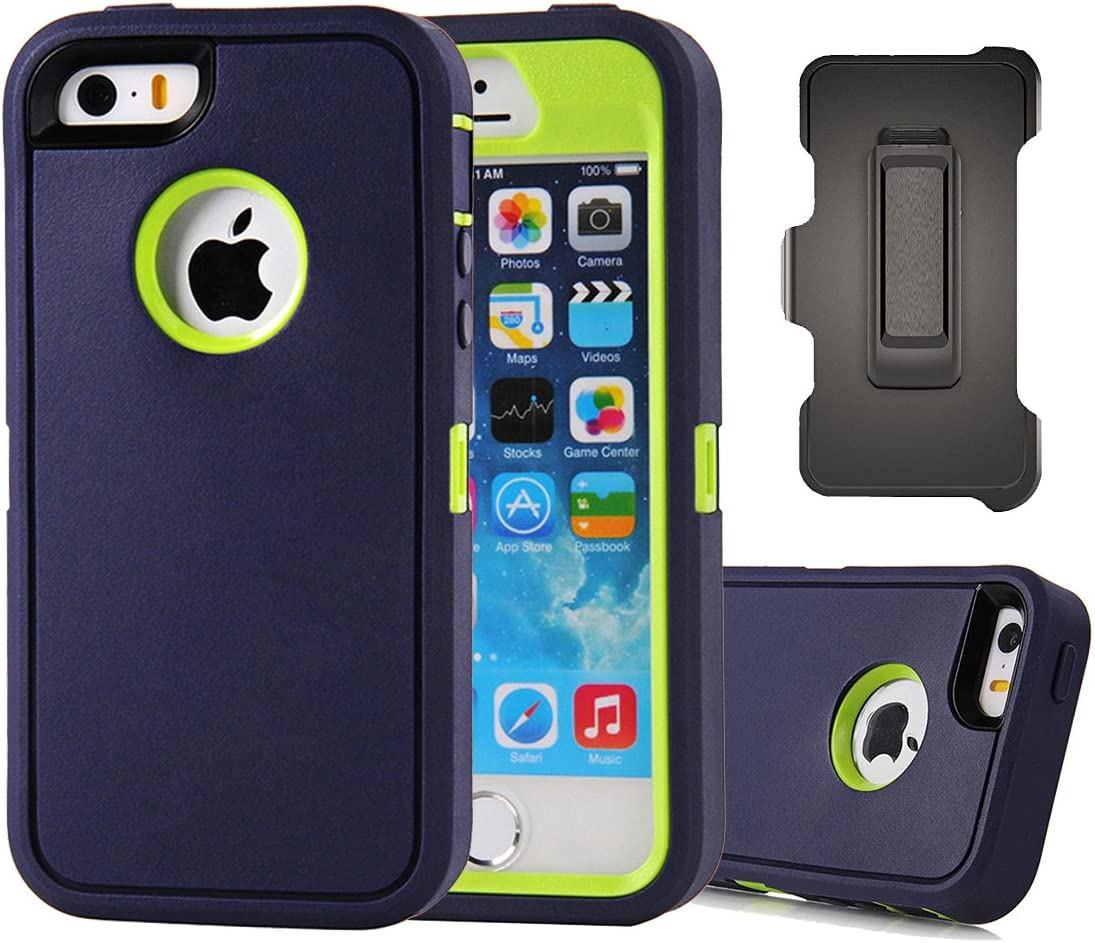 iPhone SE Case, Harsel Defender Heavy Duty Rugged Armor Scratch Resistant Full Body Protective Military w' Belt Clip Built-in Screen Protector Case Cover for iPhone SE/iPhone 5s - Navy Green