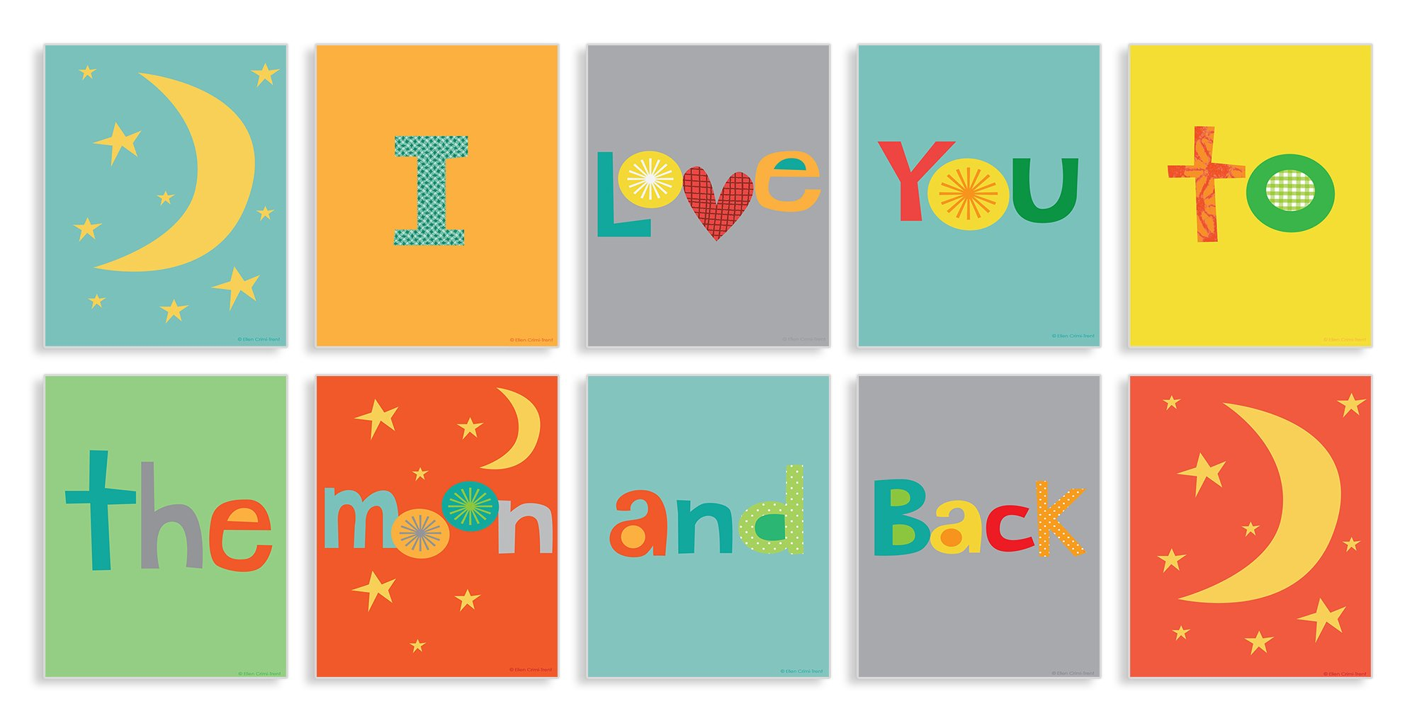 The Kids Room by Stupell I Love you to the Moon and Back 10-Pc. Rectangle Wall Plaque Set