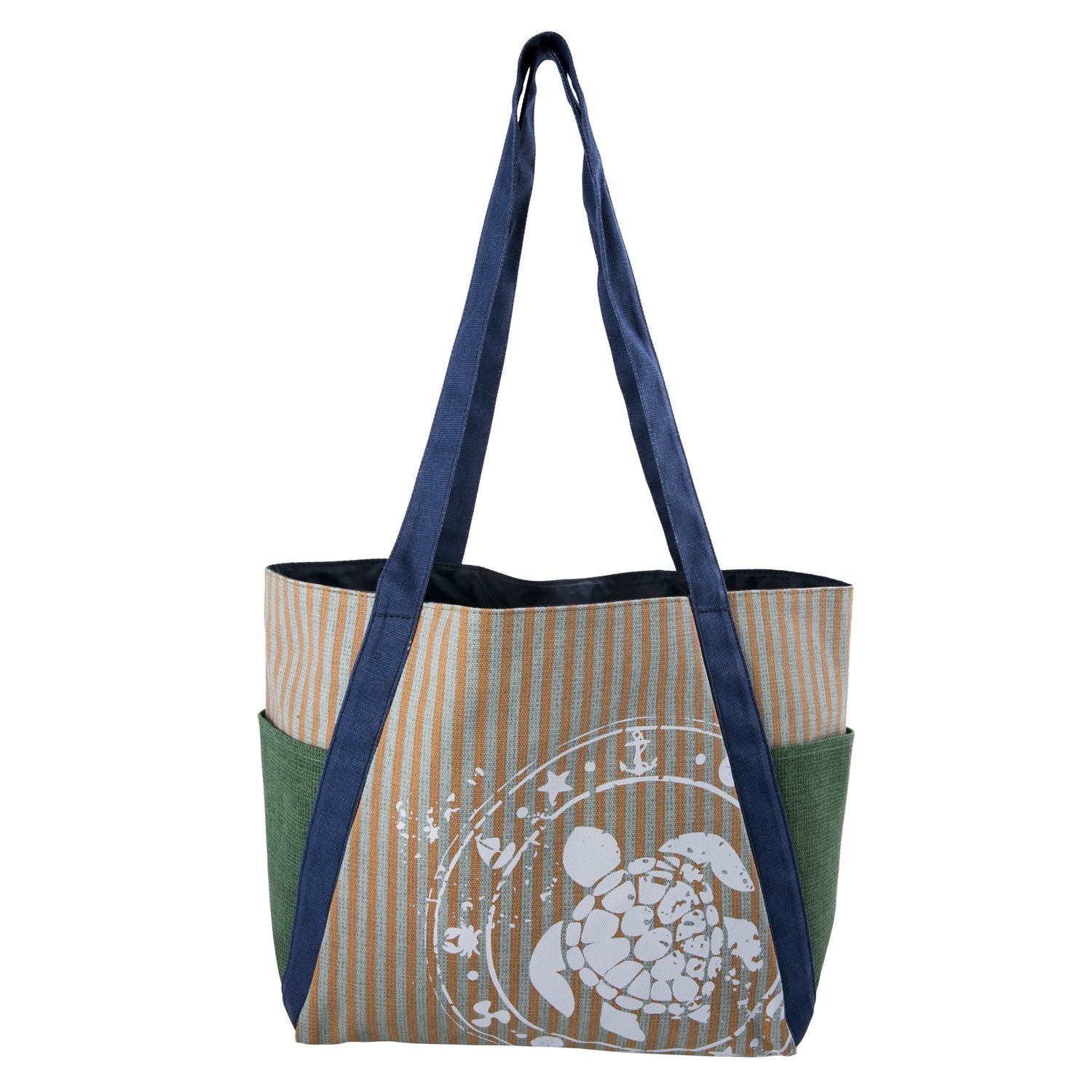 Large Canvas Tote Beach Bag with White Sea Turtle - Beige Blue Green