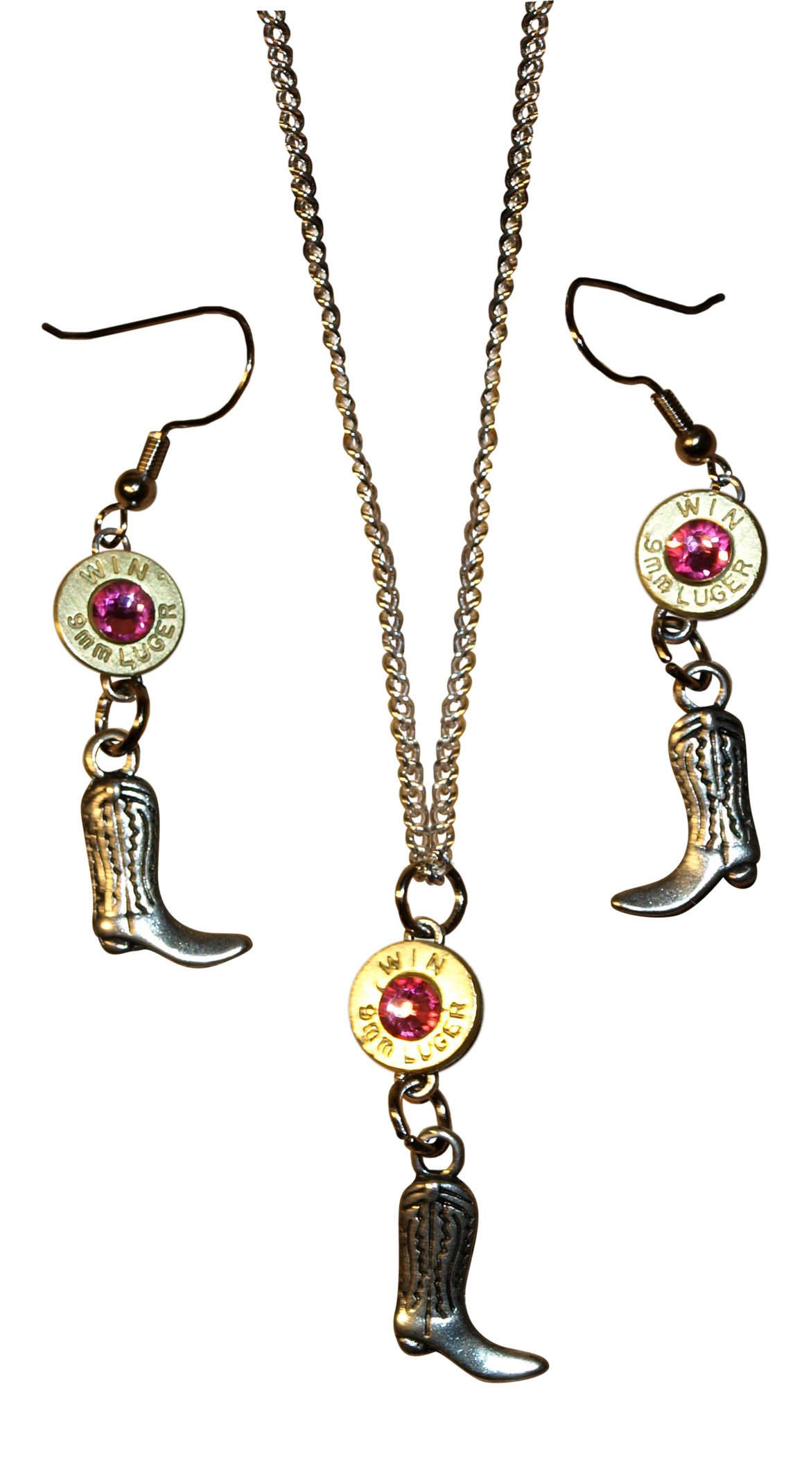 Nickel 9mm Bullet Necklace & Dangle Earrings & Boot Charm. With or Without Crystals. S643