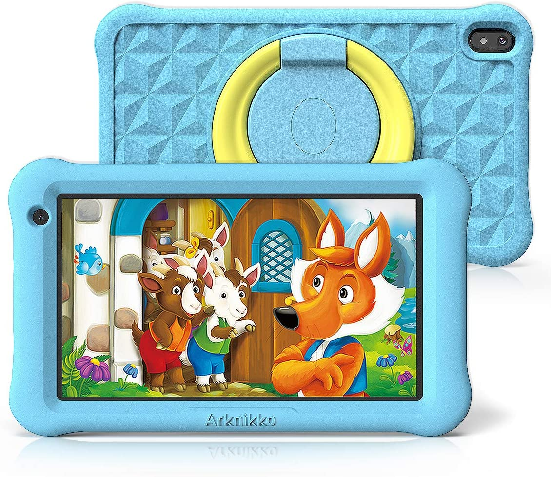Arknikko SophPadX11 Kids Tablet, 7 inch IPS HD Display, GMS Android 10 Quad-Core, 2GB RAM 32GB ROM, Kidoz Pre-Installed & Parent Control, Dual Cameras, Kid-Proof Case, Screen Protector (Blue)