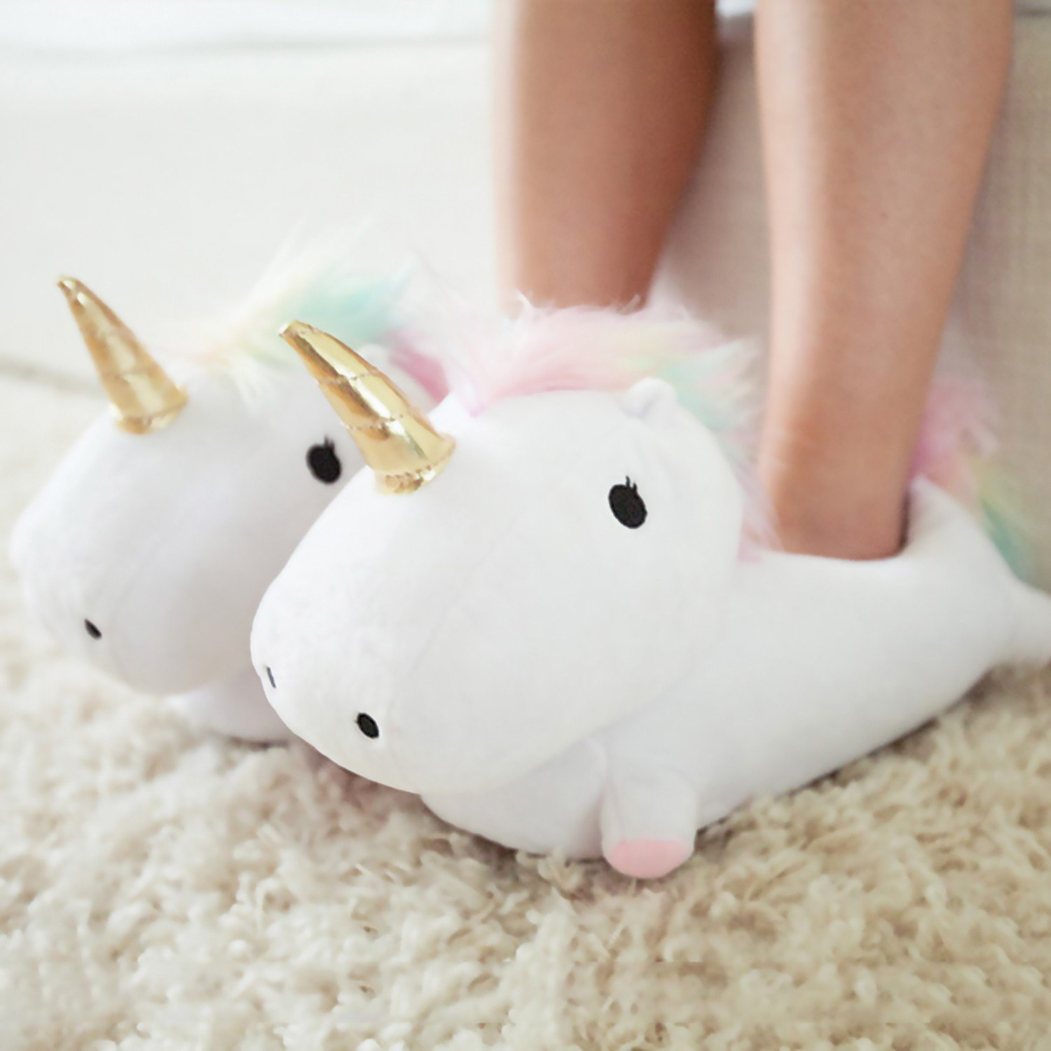 White Light-Up Unicorn Slippers for Women Twinkle Tootsies Color Changing LED Lights and Vibrant Rainbow Mane For Grownup Ladies with Magic in Their Hearts and Sparkle on Their Soles