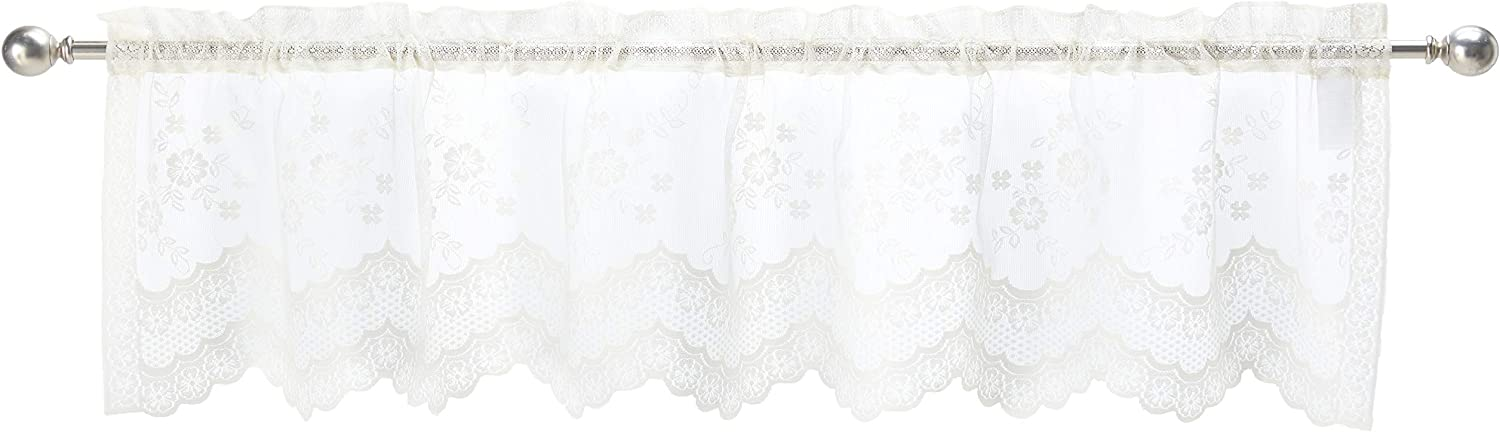 Commonwealth Home Fashions Mona Lisa Jacquard Scalloped Lace Valance, 56 x 15 Eggshell