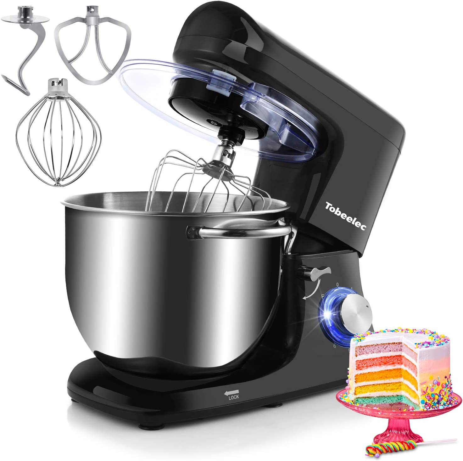 Tobeelec Stand mixer, 7.4QT Electric Kitchen Mixer, 660W 6-Speed Tilt-Head Food Mixer with Dough Hook, Wire Whip, Beater & Splash Guard (Black)