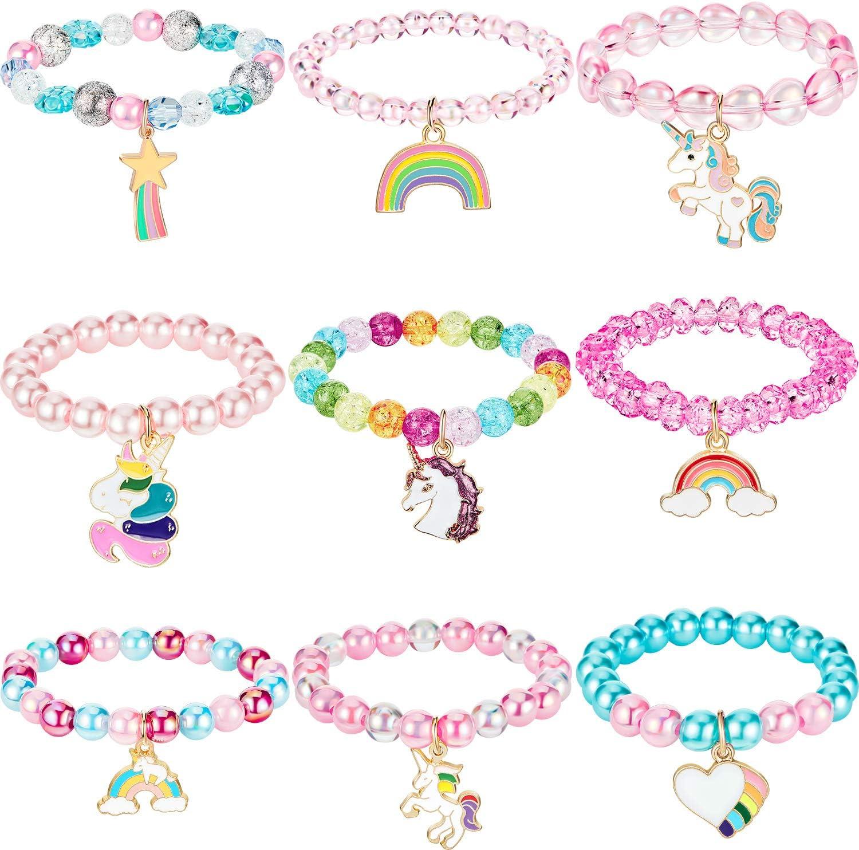 9 Pieces Colorful Unicorn Bracelet Girls Unicorn Bracelets Rainbow Unicorn Beaded Bracelet for Birthday Party Favors (Bead Style)