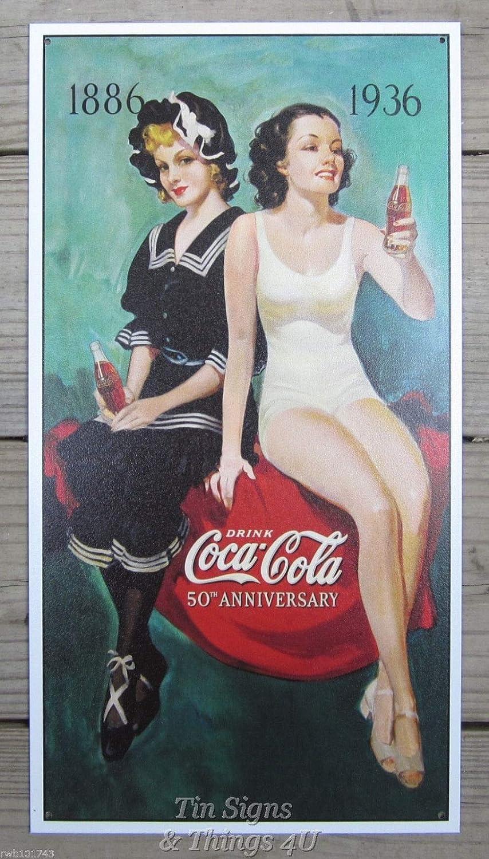 Vtg Coca-Cola D\u00e9cor Mid-century style sign Coca-Cola Collectible Art Aged Reproduction COCA-COLA Sign with Retro Girl Retro Woman poster