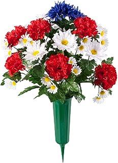 Amazon miles kimball memorial silk flowers home kitchen patriotic bouquet memorial by oakridgetm outdoor mightylinksfo
