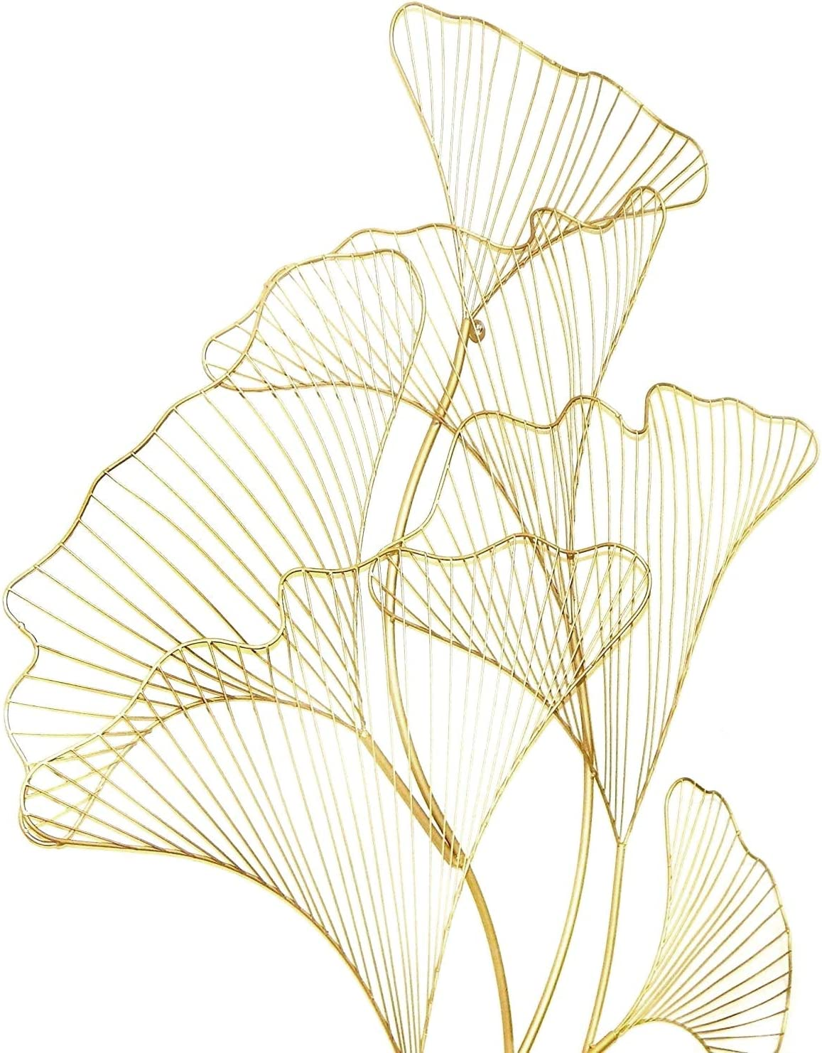 Bellaa 27406 Wall Decor Metal Wall Art Geometric Abstract Modern Gold Gingko Branch 37 Inch