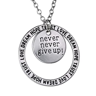 75e1f7311 Never Never Give Up Pendant Necklace - Inspirational Jewelry - Personalized  Jewelry Gift for Women and Men: Amazon.ca: Jewelry