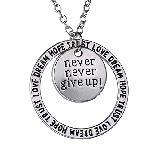Amazon never never give up pendant necklace inspirational never never give up pendant necklace inspirational jewelry personalized jewelry gift for women and aloadofball Choice Image