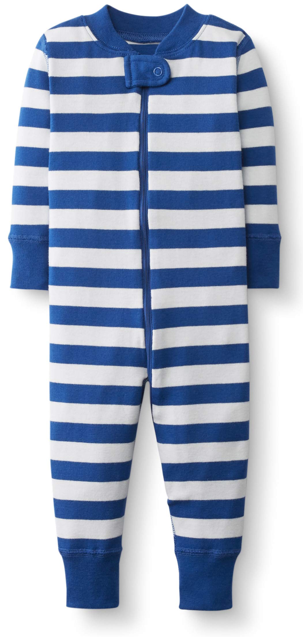 Hanna Andersson Baby/Toddler One-Piece Organic Cotton Footless Pajama Baltic Blue/Hanna White-50 by Hanna Andersson