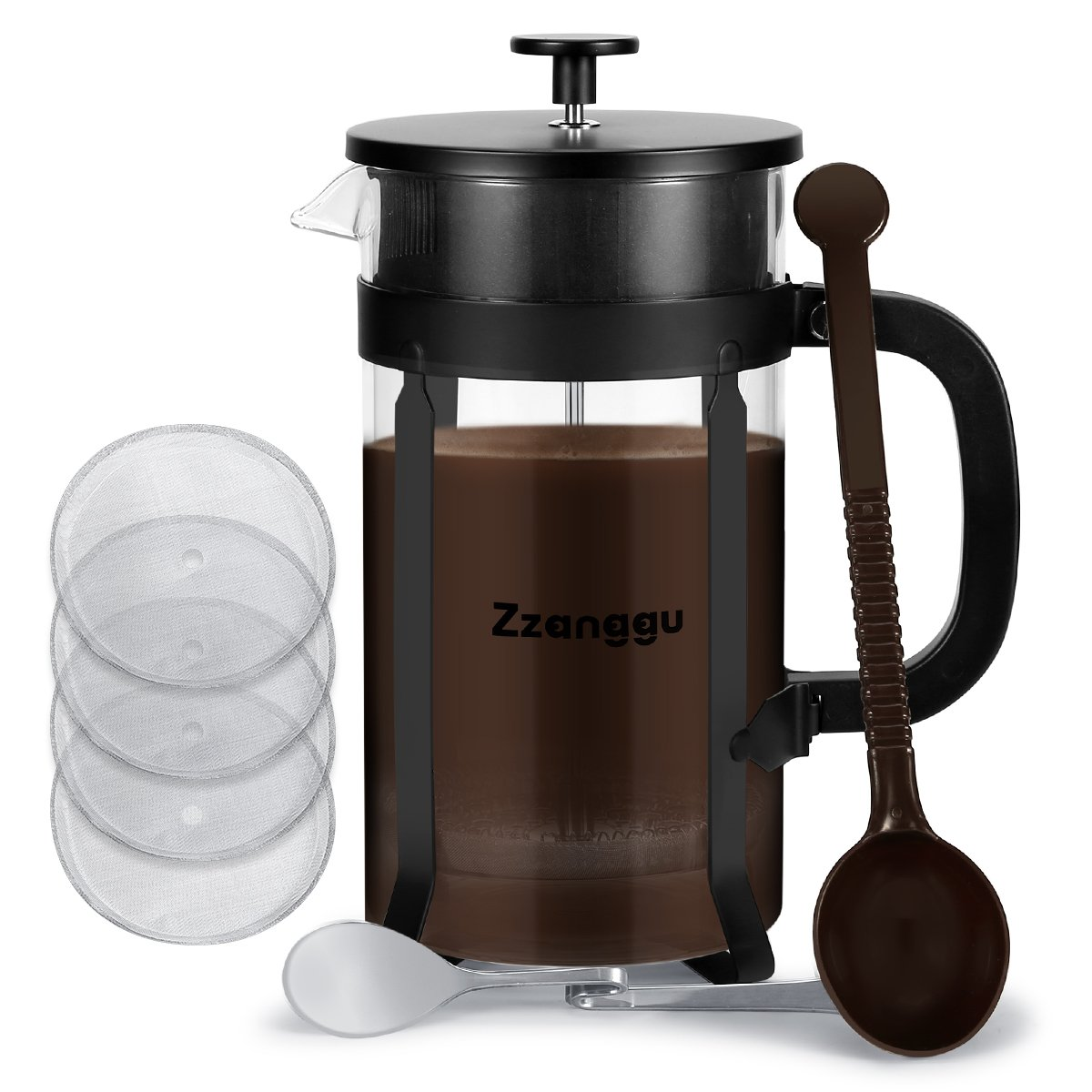 Zzanggu Coffee Maker Bundle French Press(8 Cup, 34 Oz, 1 Liter) Heat-resistant Glass Coffee Pot with 304 Stainless Steel, Double Filter Screen for Brewing Coffee/Tea (Black)