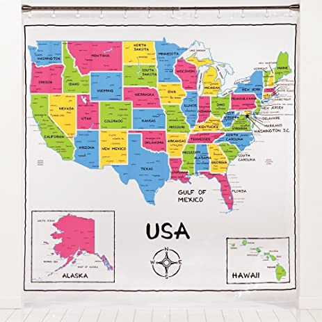 Amazon Saturday Knight Ltd USA Map Peva Shower Curtain Home