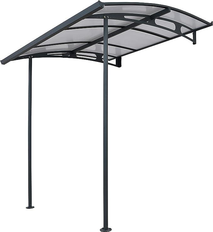 Palram Marquesina, protector de lluvia, Vega 2000, transparente, incluye canalones, 200 x 200 cm, cubierta y tejado de balcón
