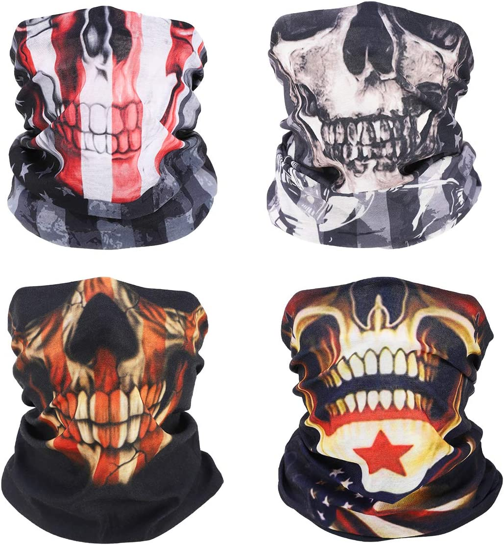 MoKo Neck Gaiter Face Mask [4 Pack], UV Sun Protection Halloween Skull Bandana Face Mask Reusable Scarf Balaclava Headbands, US Flag Bandana for Men Women for Motorcycle Cycling Skiing Party