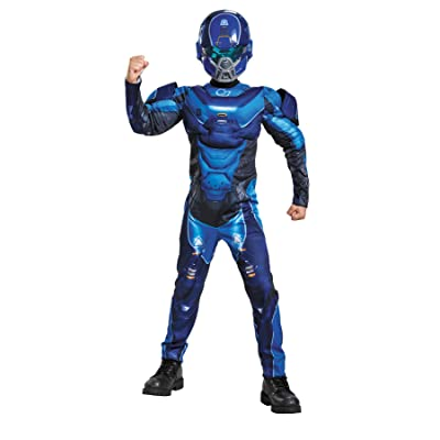 Blue Spartan Classic Muscle Halo Microsoft Costume, Large/10-12: Toys & Games