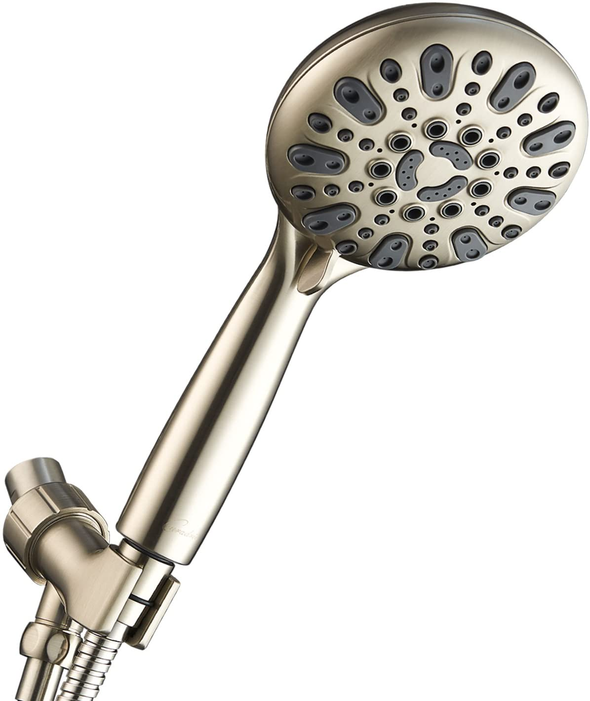 Couradric Handheld Shower Head, 6 Spray Setting High Pressure Shower Head with Brass Swivel Ball Bracket and Extra Long Stainless Steel Hose, Brushed Nickel, 5""
