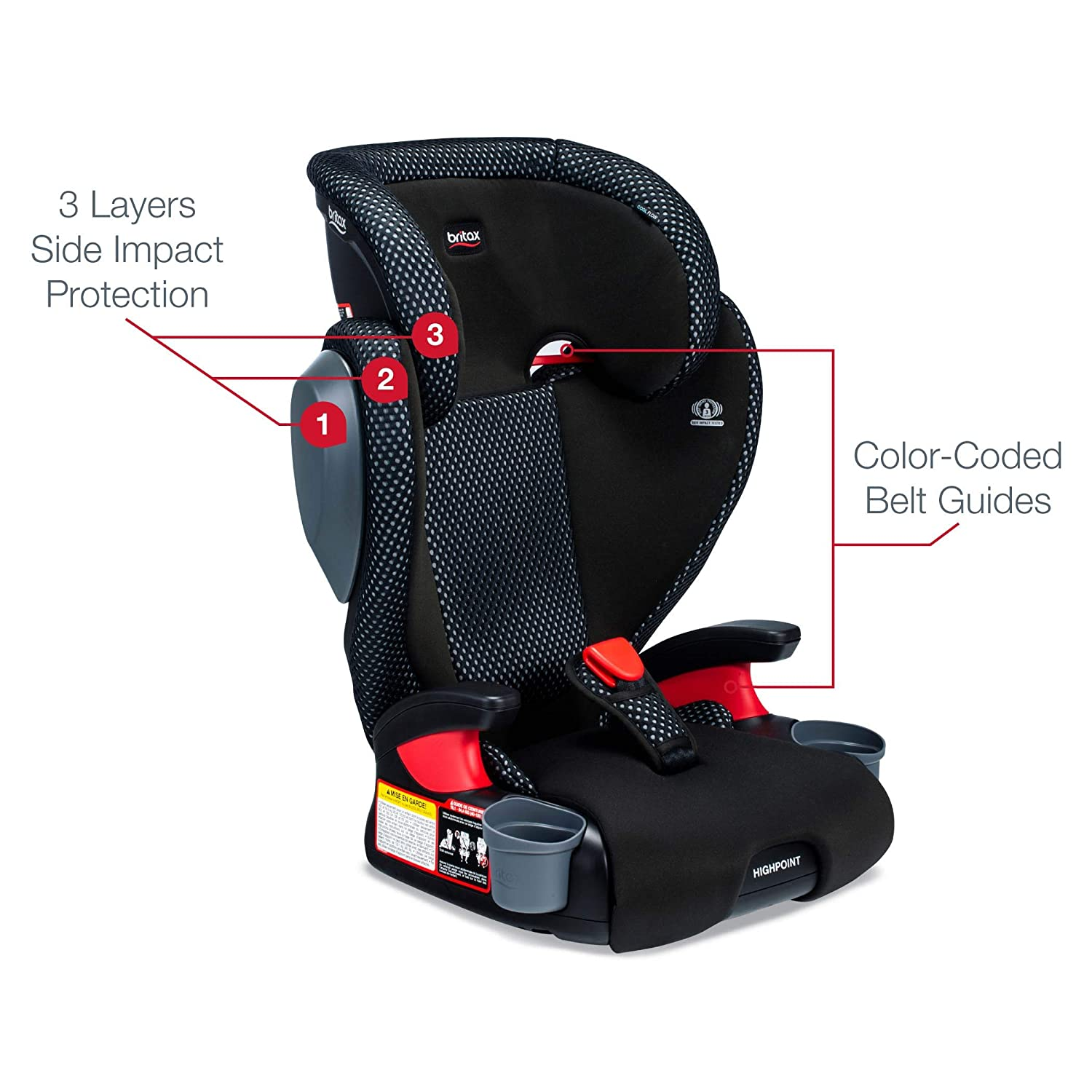 Gray Britax USA Highpoint 2-Stage Belt-Positioning Booster Cool Flow Ventilating Fabric Car Seat 3 Layer Impact Protection 40 to 120 Pounds Highback and Backless