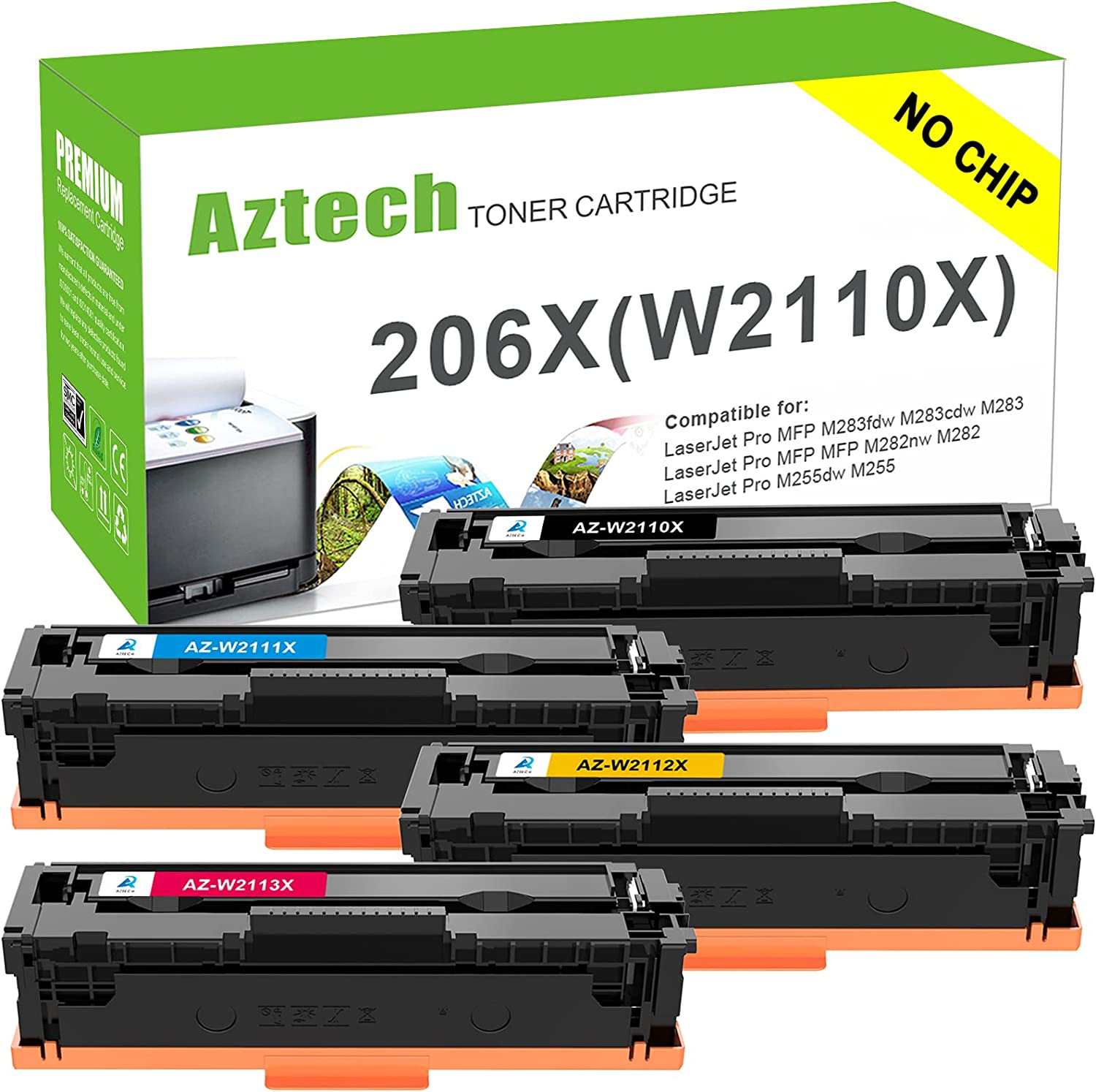 Aztech Compatible Toner Cartridge Replacement for HP 206X 206A W2110X W2110A HP Color Laserjet Pro M255dw MFP M283fdw M283cdw M283 M282nw M255 (Black Cyan Yellow Magenta, 4-Pack, No Chip)